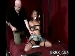 Sex hub video category bdsm (306 sec). Older slut gets titillated while being strapped tight.