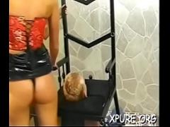 XXX movie category bdsm (307 sec). Trempling over his poor face.