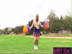 Sex movie category teen (485 sec). Cheerleader Tristyn Kennedy eats jizz after pounding.
