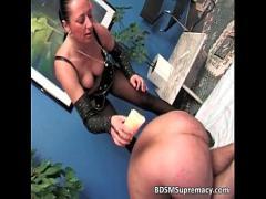 Good video category bdsm (544 sec). Kinky mature mistress waxes naked dude.