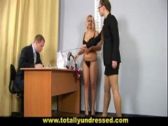 XXX video category sex_toys (383 sec). Shocking nude job interview for busty secretary.